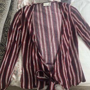 Aritzia Wilfred red striped wrap shirt